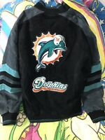 Miami Dolphins Suede Leather Jacket NFL G-III Carl Banks Black Vtg 90s Size M