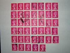 1980 3p Bright Magenta Phos papier machins x 40 utilisé (sgX930) CV £ 10