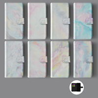 MARBLE IRIDESCENT HOLOGRAPHIC PSYCHEDELIC LEATHER WALLET PHONE CASE FOR IPHONE
