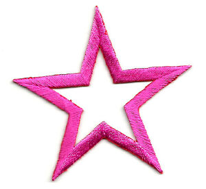 "( SET OF FOUR - 4 )OPEN STARS 2 5/8"" (6.8cm) FUCHSIA EMBROIDERED IRON ON PATCHES"