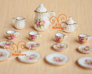 Dollhouse Miniature 17 pc Porcelaine Rose COFEEE Tea cup Set