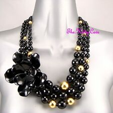 Designer Chunky Acrylic Romantic Black Hawaiian Hibiscus Flower Feature Necklace