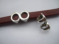 10x Silver Infinity Loop Round Silder Spacer Charms Fit 10*6mm Licorice Leather