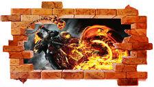 walL stickers-trompe l'oeil  -ghost rider-- adesivo per muro-- moderno