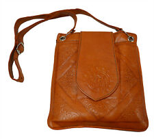 Moroccan Handbag Carved Leather  Evening Shoulder Strap  Bag iPad-Purse Orange