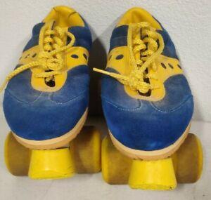 Vintage Sure-Grip Spot-Bilt Jogger Roller Skates Sz 9 Blue/Yellow Suede