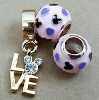 Disney Lt Rose Gold CZ Love Mickey Minnie Pink Mouse Hearts European Bead Charms