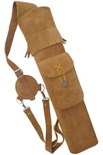 """TRADITIONAL SUEDE LEATHER BACK ARROW QUIVER   HL#118 BROWN - 19"""" LONG"""