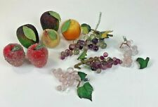 VTG Beaded Fruit with Crystal Grape Clusters Apples Pear Orange Lot of 10