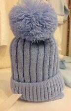 Boys 1-2 Years NEW Designer Barbaras Blue Pompom Hat & Scarf Set Jersey Lined