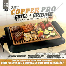 2in1 Electric BBQ Grill Non Stick Barbeque Griddle Teppanya Smokeless COPPER PRO