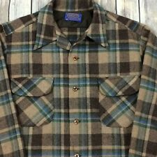 PENDLETON Mens M Vintage 60's Board Shirt 100% Virgin Wool Plaid Brown/Blue USA