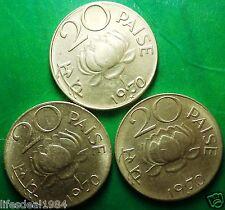 3 COINS LOT 1970 Hyderabad bombay kolkata mint LOTUS 20 PAISE commemorative coin
