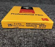 "Kodak Professional Direct Duplicating Film Box of 25 4""x5"" 1/1981 SO-015 Sealed"