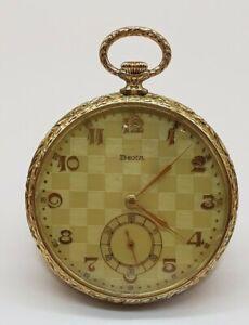 Schöne antike goldene Art Deco Doxa Taschenuhr aus 585 Gold