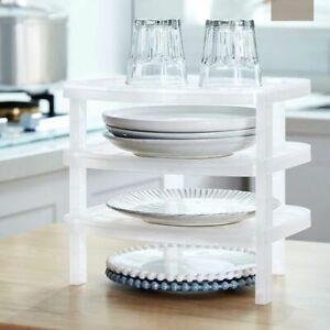 3-Tier Cupboard Plate Stacker Shelf Rack Kitchen Storage Organizer Holder Dishes