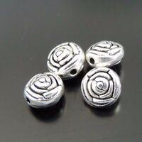 100PCS Antique Silver Black Alloy Rose Shape Pendant Beads Jewelry 7*7*5mm
