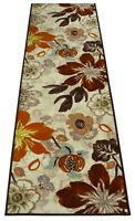 "Antibacterial Custom Size Non Skid Floral Leaves Design Beige Runner Rug 26"" W"