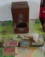 Ancien Coffret Bois avec nécessaire médecine Vintage 1950 premiers soins