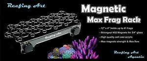 Reefing Art Magnetic Coral Frag Rack Strong Magnets Holds Up to 41 Plugs