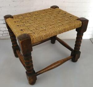 Retro Vintage Wooden Woven, Weave, Rope Seat, Stool, Footstool, Wicker, Boho