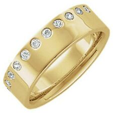 14 KT Yellow Gold & Gypsy Set Diamond Edge Only Cigar Band Ring...NEW