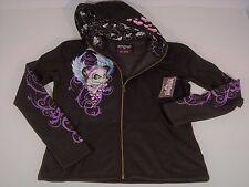 NEW Genuine Lethal Angel Black Pink Hoodie Full Zip Skull & Bones Women's M NWT