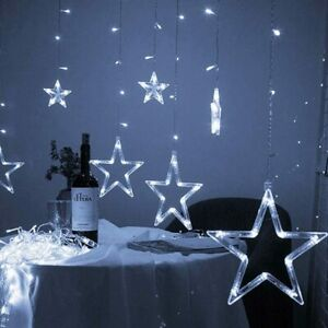 Christmas Decoration Curtain Lights String Xmas Party Window Plug in 12 Star