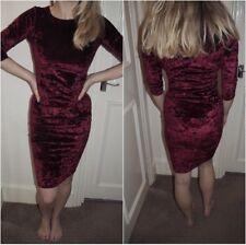 Topshop Burgundy Crushed Velvet Stretch Bodycon Midi Knee Length Dress - Size 12