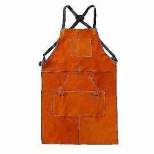 "LeaSeeK Leather 24""x36"" Welding Apron with 6 Pockets - Brown"