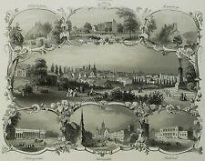 Stahlstich 1850 - TEPLITZ / TEPLICE - Souvenirblatt mit Gesamtansicht - Payne