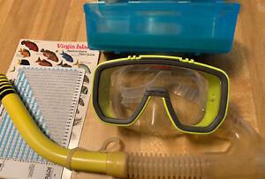 scuba snorkel mask Dacor neon greeen model ultra 5043-27 with tube.