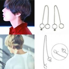 2PC KPOP BTS V Earrings Bangtan Boys V Stud Doulbe Ring Chain Earrings Fashion