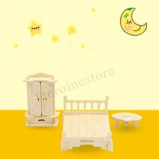 34Pcs Dollhouse Miniature Furniture 3D Woodcraft Puzzle Model Handmade Kids Toys