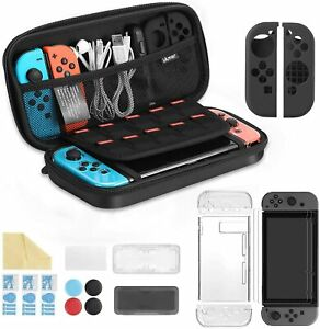 Nintendo Switch Carry Case Travel Bag with Accessories, Tempered Glass Protector