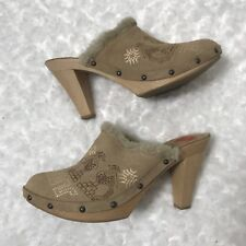 Jeffrey Campbell 8 Rare Embroidered Suede Leather Shearling Faux Fur Wooden Clog