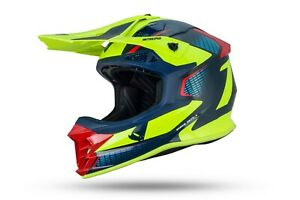 UFO Intrepid Motocross Helmet Neon Yellow Blue Gloss All Adult Sizes