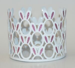 NEW BATH & BODY WORKS WHITE BUNNY PINK METAL LARGE 3 WICK CANDLE HOLDER 14.5 OZ