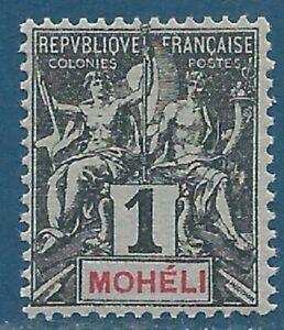 Comores - Mohéli N°1 Colonies 1c noir sur azuré neuf**