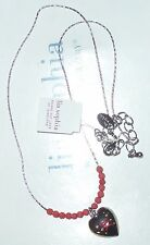 "NWT - LIA SOPHIA ""STITCH"" NECKLACE - HEART MOTIF w/PINK BEADS - 2012/$28"