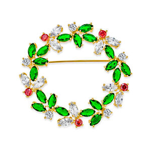 Marquise CZ Green Red Christmas Holiday Round Wreath Brooch Pin