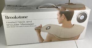 Brookstone Heated Neck & Shoulder Massager Open Box 3 Speeds Deep Relief #651240