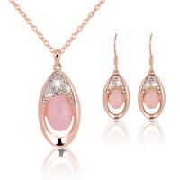 Mode Opal Schmuck Sets Rose Gold Kristall Halskette Ohrringe Schmuck LiebhabeDDE