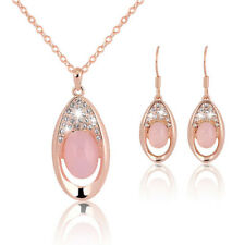 Mode Opal Schmuck Sets Rose Gold Kristall Halskette Ohrringe Schmuck Liebhabe VE