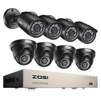 ZOSI 8CH H.265+ 1080P Home Security Camera System Outdoor 8 Channel 5MP Lite DVR