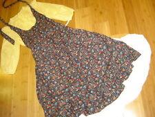 Victorian Prairie yellow stripe blouse white skirt apron sz S