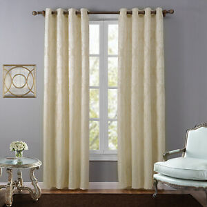 Thermal Insulated Blackout Curtains Jacquard Window Drape Panel Eyelet Top Beige