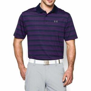 Mens Under Armour Polo Clubhouse Stripe HeatGear Top Golf Shirt S L XL 2XL NWT