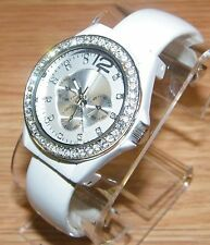 Quartz Silver Tone Simulated Crystal Rhinestone White Cuff Link Fashion Watch