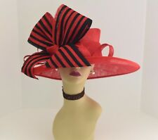 Kentucky Derby Church Wedding 3 Layers Jumbo Bow Sinamay Wide Brim hat Red/Black